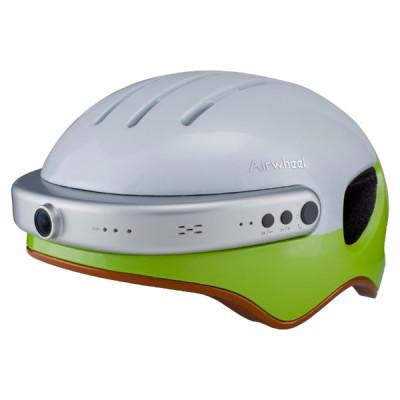Шлем с камерой Airwheel С5 (белый с зеленым, размер L)