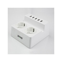 Настольная зарядная станция с пятью портами USB и двумя электрическими розетками LEXAND LP-520 (белый)