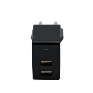 ONYX сетевое зарядное устройство, 2,4 А, с 2 портами (чёрное)