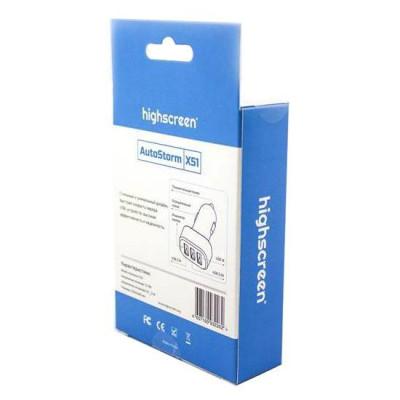Автомобильное зарядное устройство Highscreen Autostorm x51 с 3-мя USB портами (Черно-серебристый)